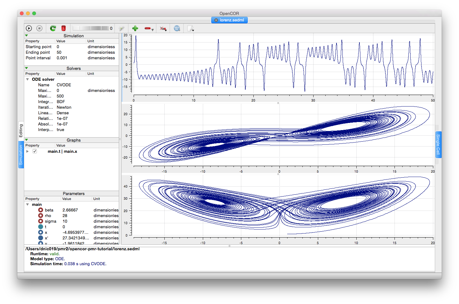 Screenshot illustrating the results of executing the Lorenz attractor simulation experiment in OpenCOR.